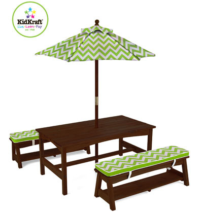 KidKraft Outdoor Chevron Table And Bench Set. Features Include: Outdoor Furniture  Set Is Perfect For The Summer Months. Matching Canopy And Bench Cushions.