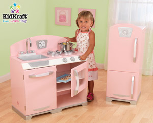 Kidkraft Pink Retro Kitchen With Fridge Features Include Refrigerator Freezer Oven Dishwasher Open And Close Knobs On Dishwasher Oven And Sink Turn