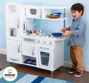 Kidkraft White Vintage Kitchen Features Include Doors Open And Close Oven Knobs Click And Turn Tons Of Convenient Storage Space