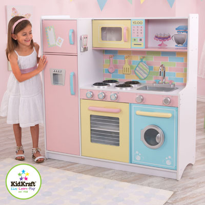 Kidkraft Red Vintage Kitchen Features Include Doors Open And Close Oven Knobs Click And Turn Tons Of Convenient Storage Space