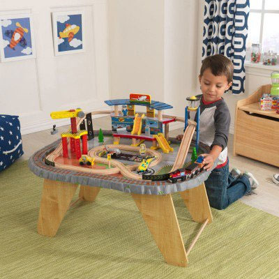 KidKraft Airport Express Train Table And Set. Features Include: 3 Piece  Train, 4 Cars, 2 Planes, Helicopter. Spiral Track Design. Deluxe Airport  And Tall ...