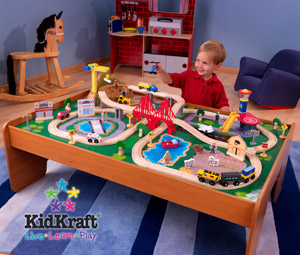 KidKraft Ride Around Town Train Table And Set Features Include: Two Bins  For Convenient Storage. 100 Colorful Pieces. Moveable Crane. Airport  Includes ...