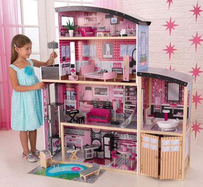 Kidkraft sparkle mansion dollhouse for Barbie doll house with swimming pool